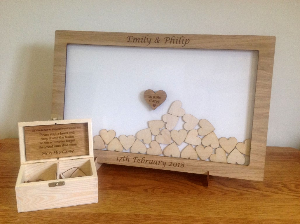 Personalised Drop Box Oak Frame Wedding Guest Book (White) - sjslaser